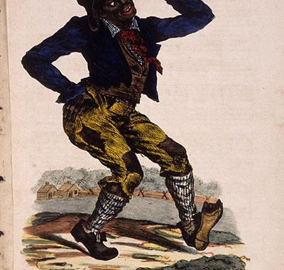 """Edward Williams Clay (1799-1857) lithograph, cover to sheet music of """"Jump Jim Crow,"""" a song popularized by American minstrel Thomas Dartmouth Rice about 1832."""