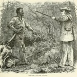 "Wood engraving ""Discovery of Nat Turner"" depicts Benjamin Phipps's October 30, 1831, capture of Turner, leader of the Southampton County slave insurrection."