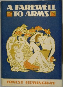The first edition of Hemingway's second novel, A Farewell to Arms, featuring a cover illustration by Cleonike Damianakes, was published in 1929 by Charles Scribner's Sons with editor Maxwell Perkins.