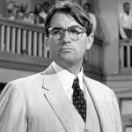 To Kill a Mockingbird character Atticus Finch, played by actor Gregory Peck, argues before a segregated courtroom in Jim Crow Alabama.