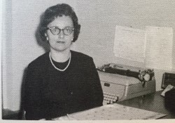 Mrs. Vergie Weeks, Michael's mother, at her desk in the office of the superintendent of schools, Floyd County, Virginia, 1965.