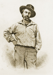 "Walt Whitman, 1855 ""Leaves of Grass"" portrait."